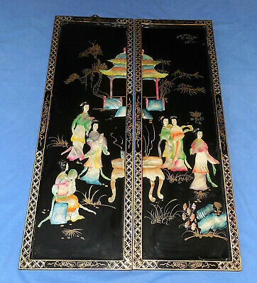 """Vintage Black Lacquer Mother Of Pearl 36""""  Asian Art Wall Hangings"""