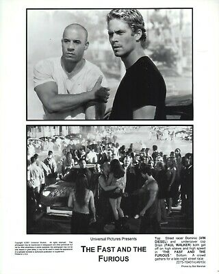 The Fast and the Furious (2001)  8x10 black & white photo #4910c