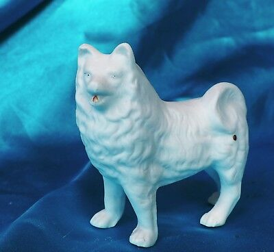 Antique Bisque porcelain red mouth Spitz White dog Samoyed Eskimo dog smiling *
