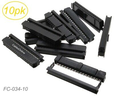 10-Pack 34-Pin (2x17) Female IDC 2.54mm Pitch Connectors for Flat Ribbon Cable