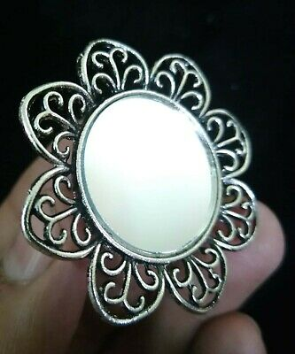Bollywood Mirror Oxidized Silver Plated Adjustable Ring Fashion Jewelry women
