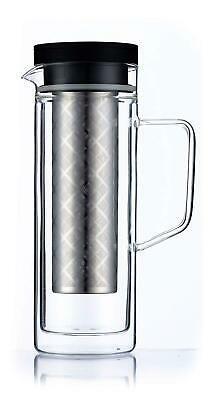 Coffee Maker & Ice Tea Pitcher Double Wall Glass Pot With Removable Fine Filter