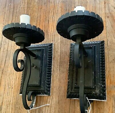 MID CENTURY MODERN iron SCONCES porch light fixtures Cast Metal iron vtg gothic