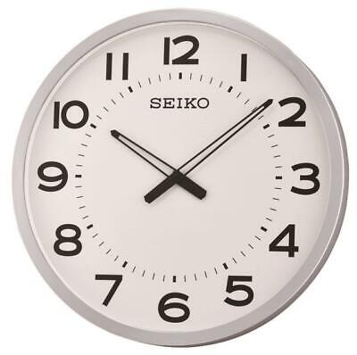 """New Seiko Silver Toned Framed Numbered   Wall Clock 20"""" In Diameter Qxa563Slh"""