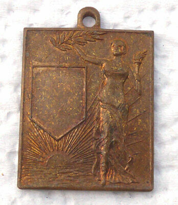 Antique 1931 Award Medal Unengraved Art Deco Design Pendant Charm or Fob