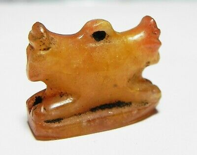 ZURQIEH -as13129-  ANCIENT EGYPT, CARNELIAN DOUBLE SIDED APIS BULL AMULET. 1400B