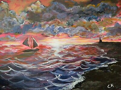 Sunset of the Sea ORIGINAL acrylic painting with Lighthouse and Sailboat
