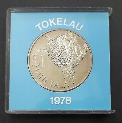 TOKELAU 1978 $1 Tahi Tala uncirculated coin (39 mm) in plastic case