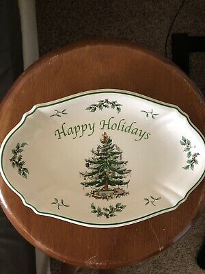 """Spode England Happy Holiday's Christmas Tree 10.5"""" Oval Serving TRAY PLATE DISH"""