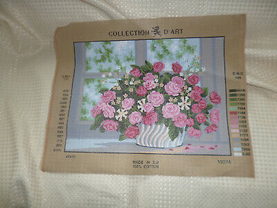 Printed Tapestry Canvas 39 x40cm approx - BASKET OF FLOWERS