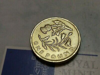 2014 £1 One Pound Coin Circulated Floral Emblem Scottish Thistle & Bluebell VFI6