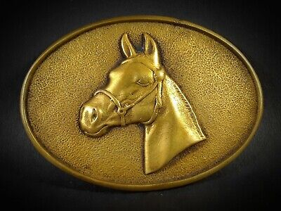 Vintage BTS Solid Brass Belt Buckle, Mustang Horse Head, USA 1970s, CLEAN