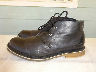 7c3833d378d UGG AUSTRALIA LEIGHTON Black Leather Chukka Ankle Desert Boots 3275 Mens 9.5