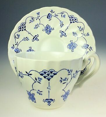 Myott China Finlandia Blue and White Flat Cup and Saucer Staffordshire England