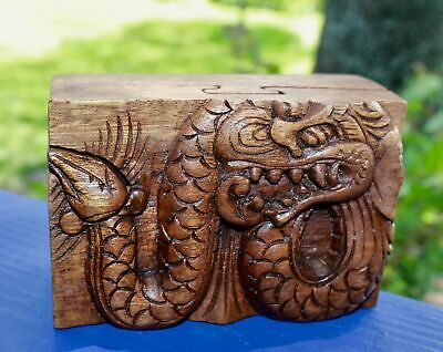 Balinese Dragon Secret puzzle Box Stash Trinket hand carved suar wood Bali Art