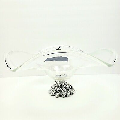"""Murano White Crystal Scalloped Bowl Handmade 16"""" wide x 9"""" tall Pewter Base"""