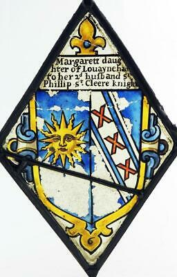 MARGARET LOVEYNE STAINED GLASS PANEL Wife of HIGH SHERIFF SIR PHILLIP St CLERE
