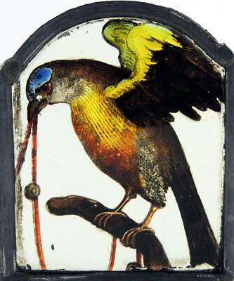BIRD WITH WORM STAINED GLASS PANEL 17th CENTURY