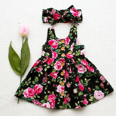 Toddler Kids Baby Girl Party Princess Floral SUMMER Dress Pageant Clothes Cute