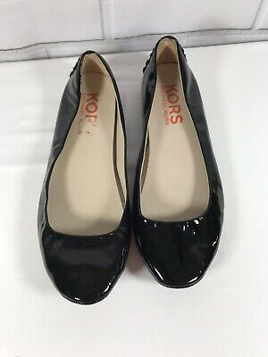 672192a23 TORY BURCH BLACK Patent Leather Reva Flats Shoes US 8 Ballet Slip On ...