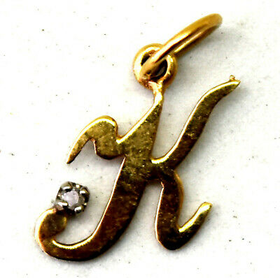 """Vintage 14K Solid Yellow Gold and Diamond """" K """" Pendant"""