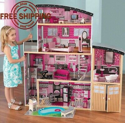 New 4 Ft Tall 30 Pieces Detailed Colorful KidKraft Sparkle Mansion Dollhouse