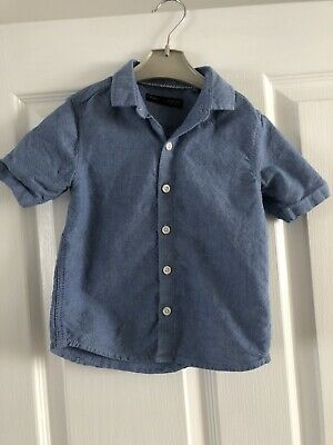 Boys Next Blue Linen Short Sleeve Shirt Age 1.5 - 2 Years Immaculate Condition