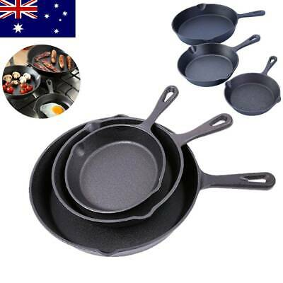 3PCS NonStick Frypan Cast Iron Frying Pan Round Skillet Grill Fry Pan Cookware
