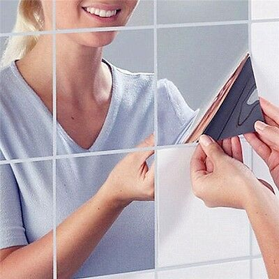 High quality 9 Pcs/Set square mirror tile wall stickers 3D decal mosaic US