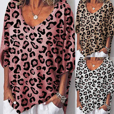 Womens Loose Leopard Print T-Shirt Ladies V Neck Baggy 3/4 Sleeve Casual Blouse