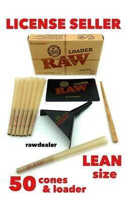 raw classic LEAN size pre-rolled cone(50 pack)+raw cone loader 100%AUTHENTIC