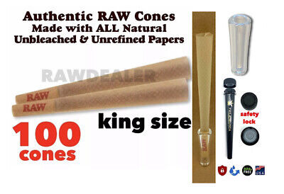 Raw Classic King Size pre Rolled Cone With Filter  (100 Packs)100% AUTHENTIC