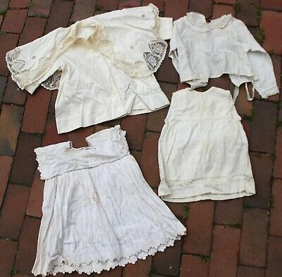 Lot of 19th Century Antique Cotton Girls Baby Clothing Coat Blouse 2 Dresses