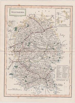 """1831 Two Antique Maps """"WILTSHIRE"""" &  """"ENGLAND & WALES"""" - Sidney Hall"""