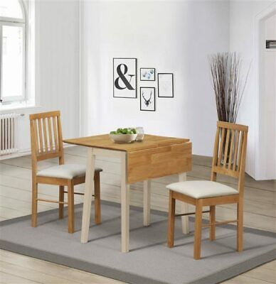 Lille Drop Leaf Cream & Oak Solid Rubberwook Compact Dining Set with 2 Chairs