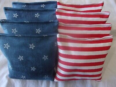 ACA Regulation Corn Hole Bags Set of 8 BLUE DENIM STARS AND  STRIPES