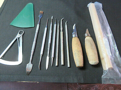 Dental Laboratory Iwenson Caliper, Washout Brush, carving instrument. Lot of 11