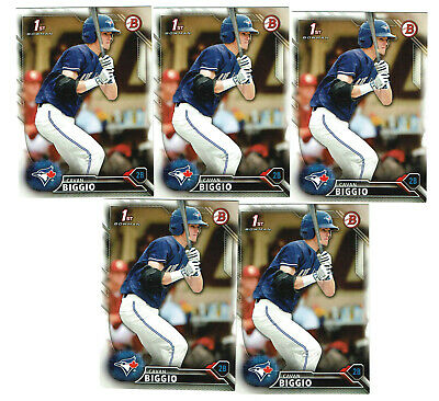 (5) 2016 Cavan Biggio Bowman Rookie Draft Baseball Card Lot Toronto Blue Jays
