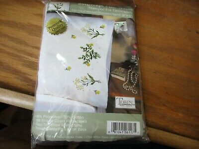 """Tobin Stamped For Embroidery Pillowcase Pair 20""""X30"""" Buttercups NIP"""