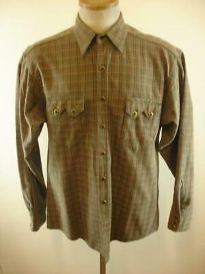 df312c8fc52a56 Mens S Rockmount Ranch Wear Western Pearl Diamond Snap Shirt USA Made Plaid  Vtg