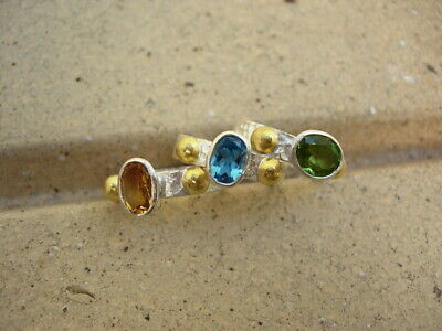 24k PURE GOLD & HAND MADE HAMMERED SİLVER RİNGS & PERİDOT,BLUE TOPAZ,CİTRİNE