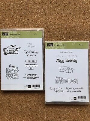 Stampin Up BRING ON THE CAKE Stamps Set Of 13~Birthday Cake&sentiments+FREE Card