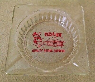 Pizza Hut Ashtray Vintage Glass Square Quality Reigns Supreme Red Graphic Letter