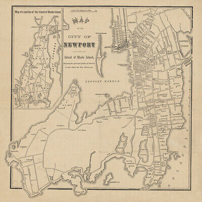 1870 Map of Newport and Island of Rhode Island