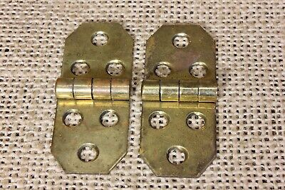 2 jewelry box Hinges polished vintage antique brass NOS Made in USA 1 7/8 x 5/8""