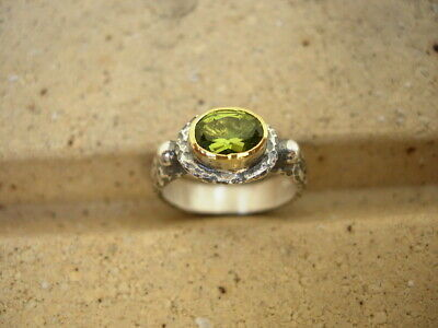 24K Pure Gold, Hand Made Hammered Oxidized Silver ring & Peridot