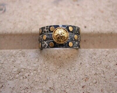 24K Pure Gold, Hand Made Hammered Oxidized Stack Silver Ring