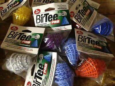 BirTee Pro 8 Pack of White Consistent Tees Perfect for Winter Golf or Simulators