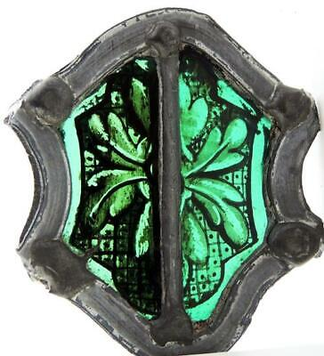 TINY STAINED GLASS PANEL Green Leaf Sprig c1600