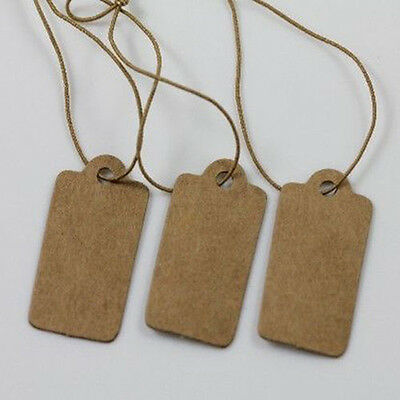 CO_ 100X Jewelry Price Label Tags Blank Kraft Paper With Elastic String 30*15mm